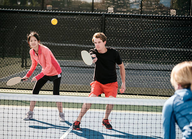 pickleball players - table tennis racket stock pictures, royalty-free photos & images