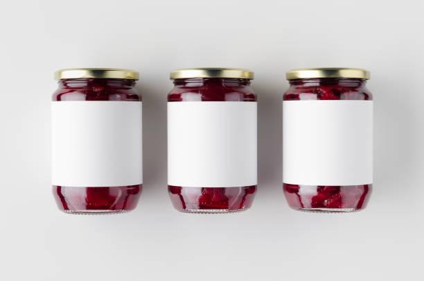 pickled beets jar mockup. top view, blank label. - jam jar imagens e fotografias de stock