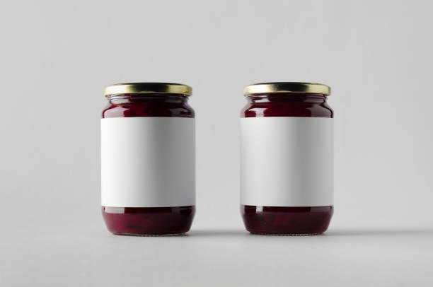 pickled beets jar mock-up - two jars. blank label. - jam jar imagens e fotografias de stock
