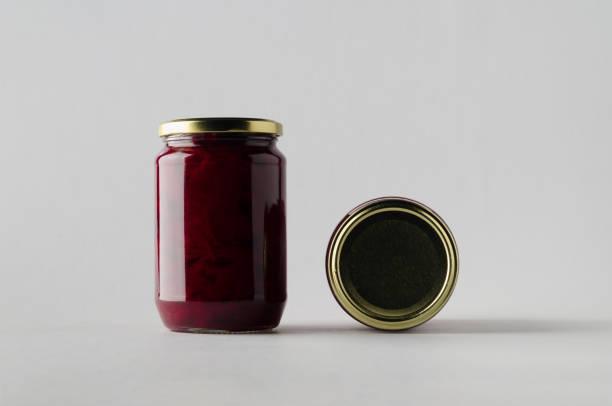 pickled beets jar mock-up - two jars - jam jar imagens e fotografias de stock