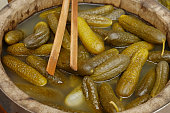 """Pickled cucumbers at the farmers market. """"Salzgurken"""" a typical Austrian specialty."""