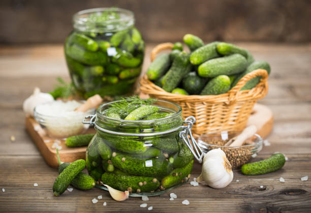 Pickled cucumbers in the jar stock photo