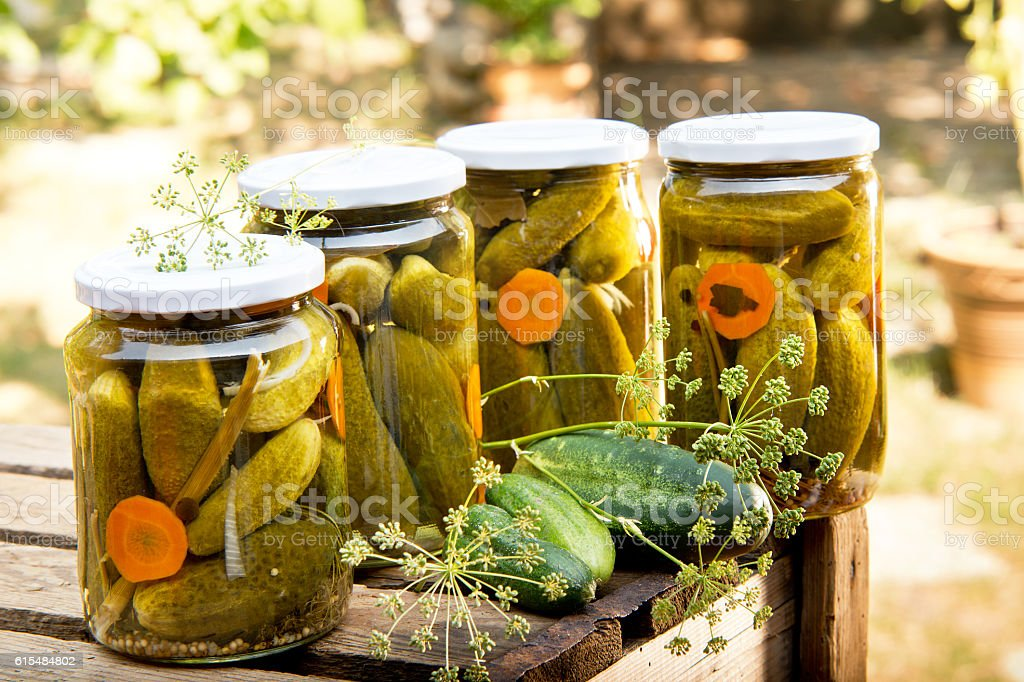 pickled cucumbers stock photo
