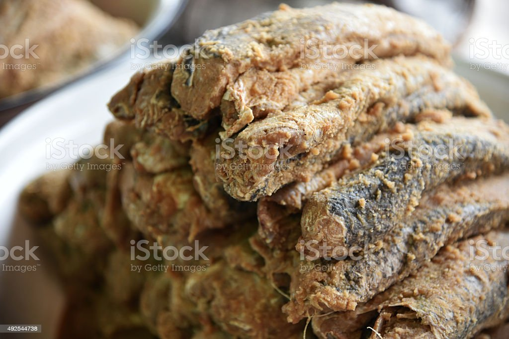 Pickled fish stock photo