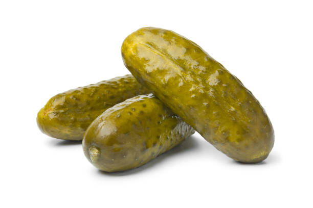Pickled gherkins close up stock photo
