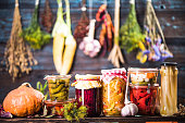 istock Pickled Marinated Fermented vegetables on shelves 1021597290