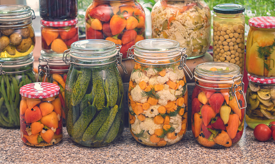 Pickled Organic Vegetables In Jars Stock Photo - Download ...
