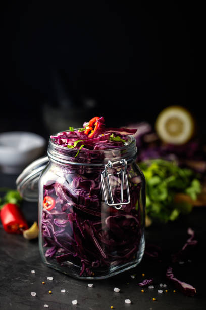 pickled red cabbage stock photo