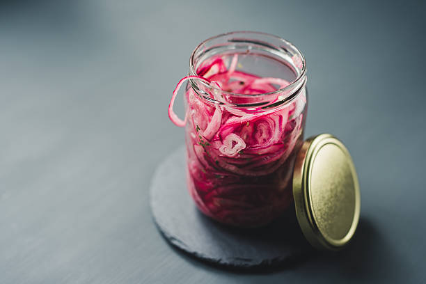 Pickled red onion food photography Pickled red onion food photography spanish onion stock pictures, royalty-free photos & images