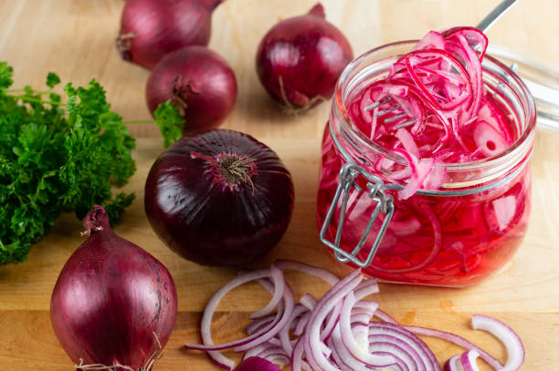 Pickled Red Onion Homemade pickled sliced red onion. spanish onion stock pictures, royalty-free photos & images