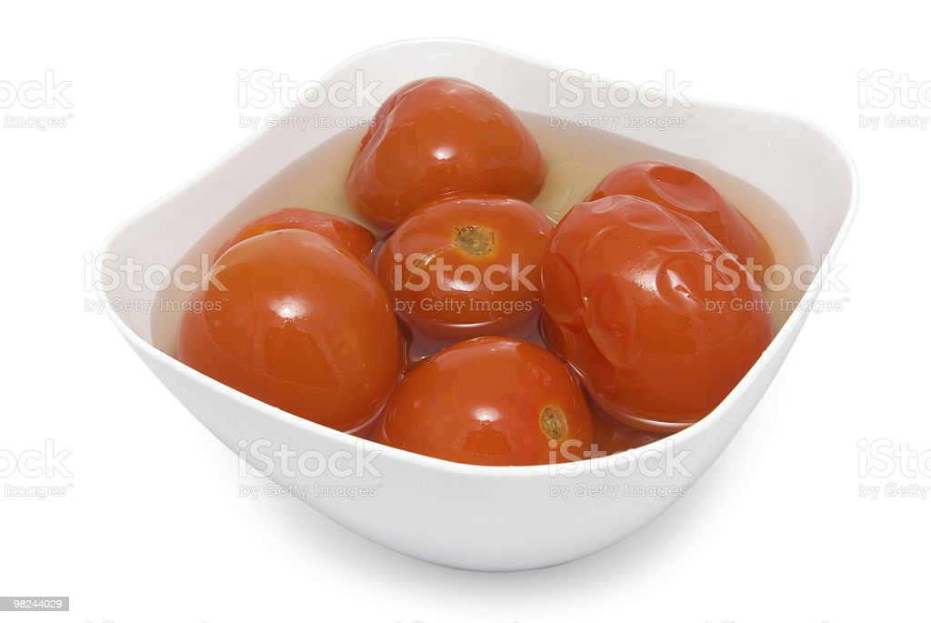 pickled red tomatoes isolated on white background royalty-free stock photo