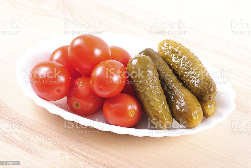 pickled tomatoes and cucumbers royalty-free stock photo