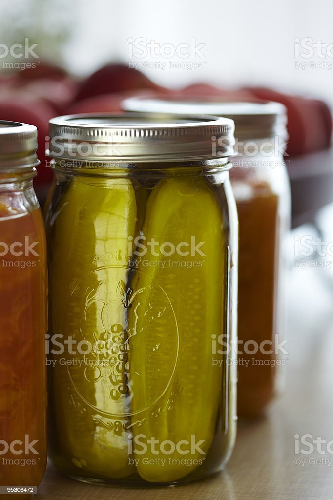 Pickles in Mason Jar  Canned Food Stock Photo