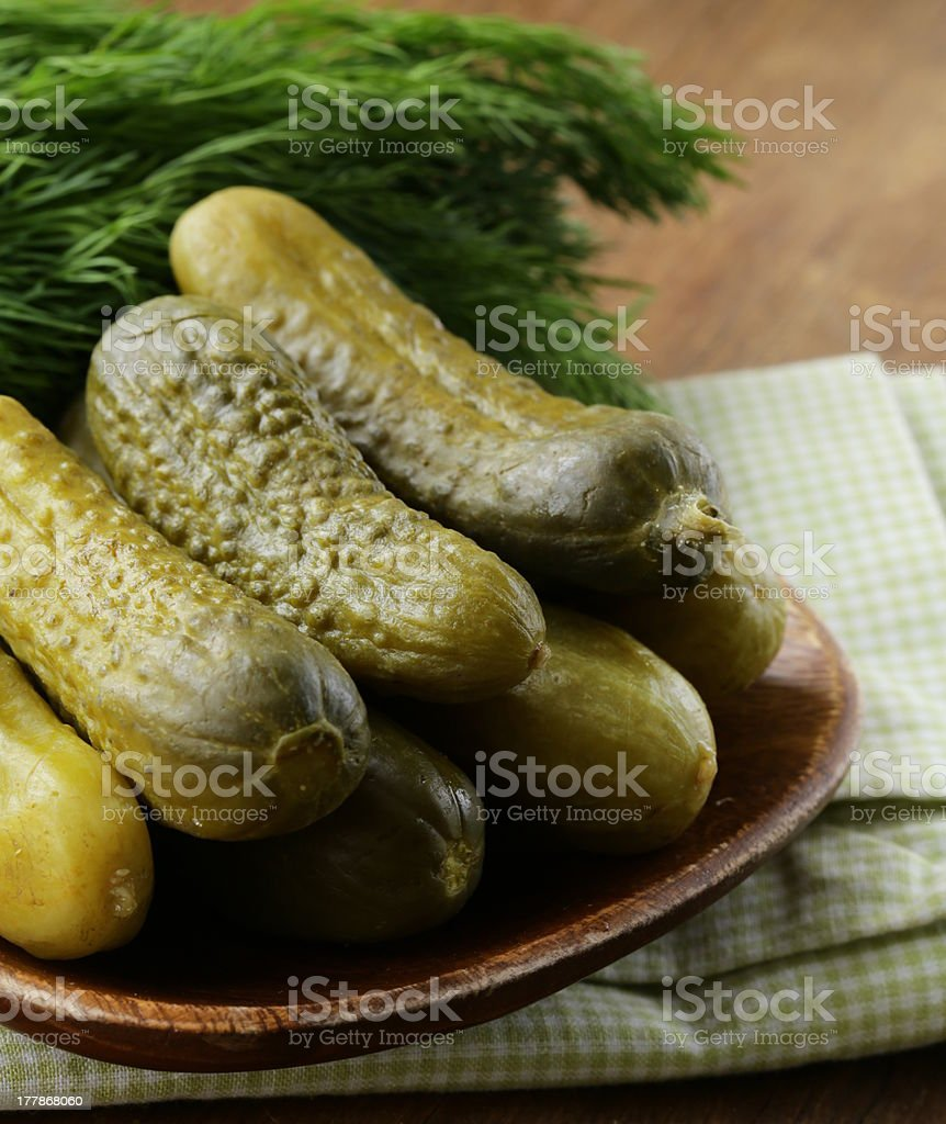 Pickles salted cucumbers, pickled vegetables royalty-free stock photo