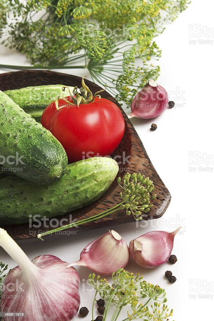 pickling cucumbers and spices royalty-free stock photo