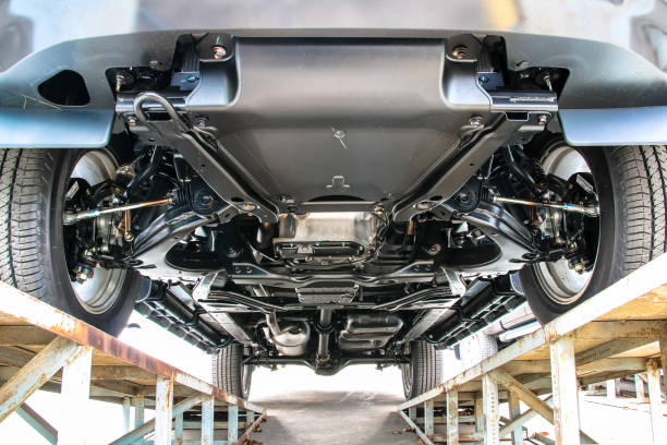 Pickup car chassis bottom view stock photo