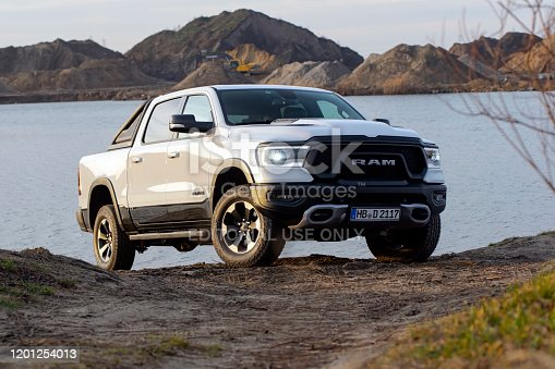 Berlin, Germany - 12 January, 2020: RAM 1500 Rebel stopped on a road. RAM is one of the most popular pickup vehicles in North America.