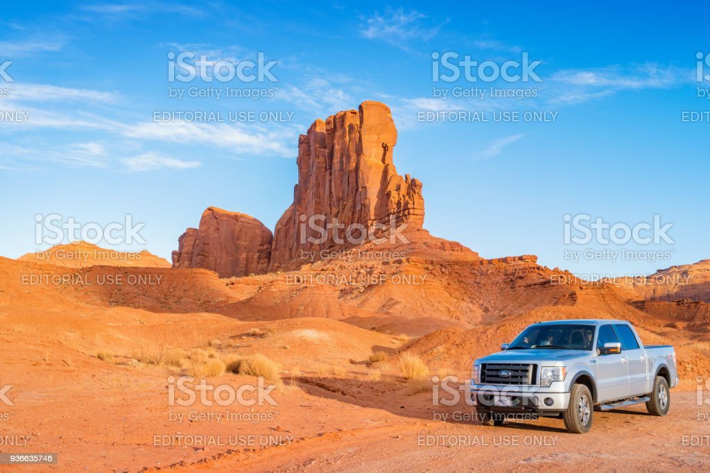 Pickup truck at Monument Valley Utah stock photo