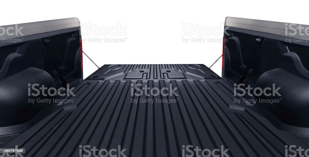 Pickup truck bed tailgate looking out from inside stock photo