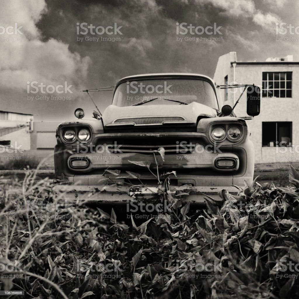Pick-up Truck in Stormy Weather royalty-free stock photo