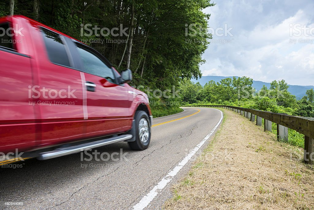 Pick-up truck in the mountains near Gatlinburg, Tennessee stock photo