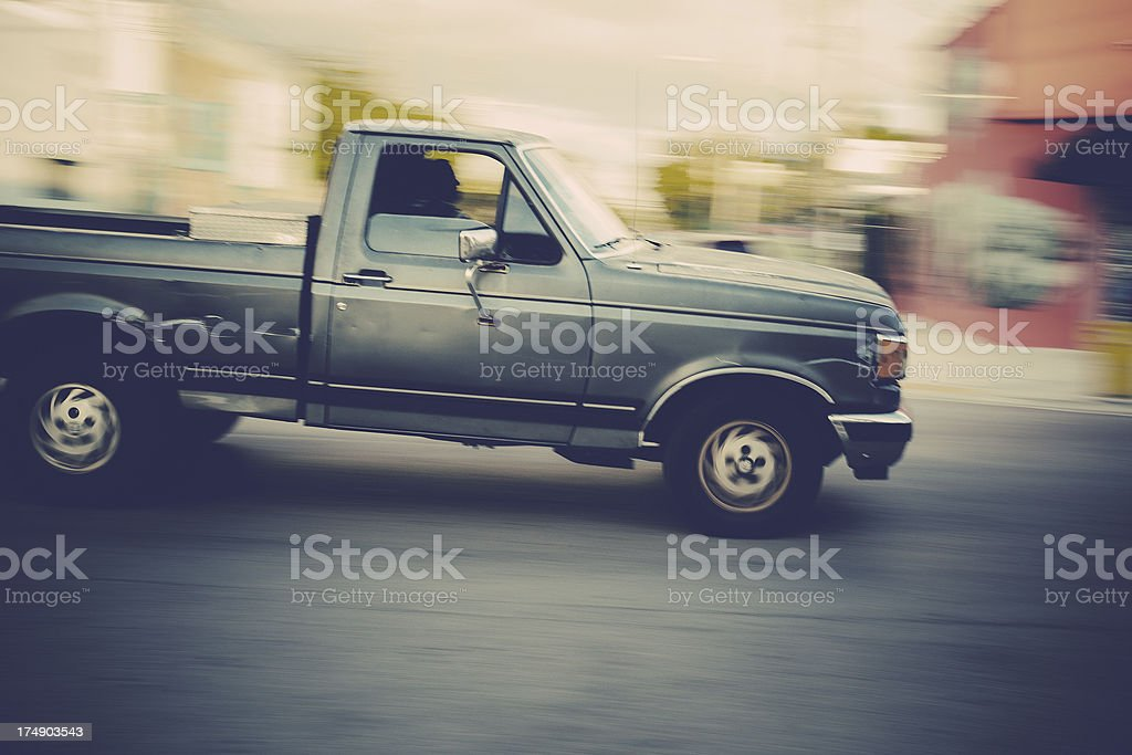pick-up truck speeding royalty-free stock photo