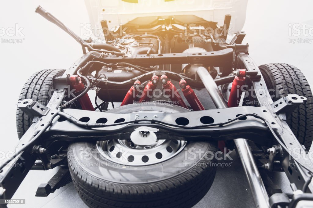 pickup truck underbody vehicle car chassis with spare tire clean new stock photo