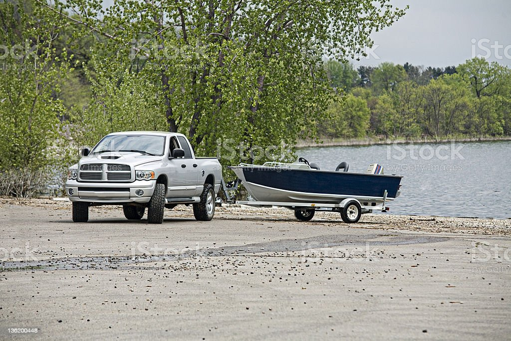 Pickup Truck with boat stock photo