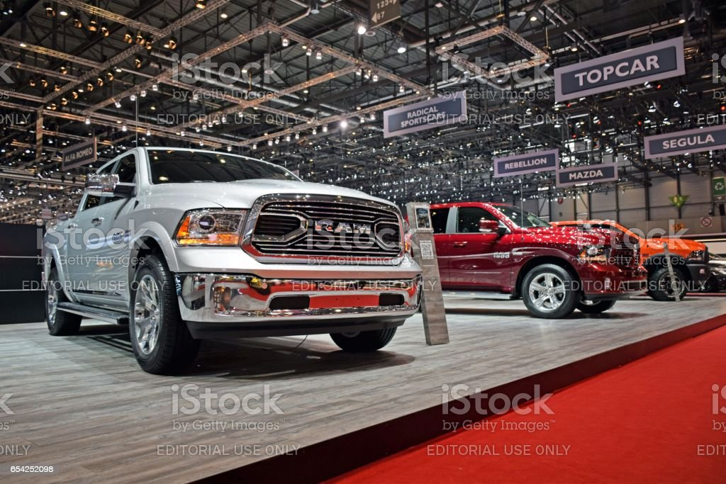 RAM pickups on the exposition stock photo