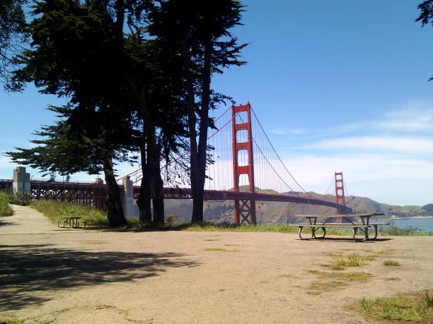 Picnic area near the Golden Gate Bridge stock photo