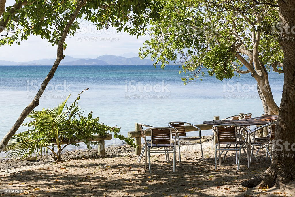 Picnic Area on Tropical Paradise Island royalty-free stock photo