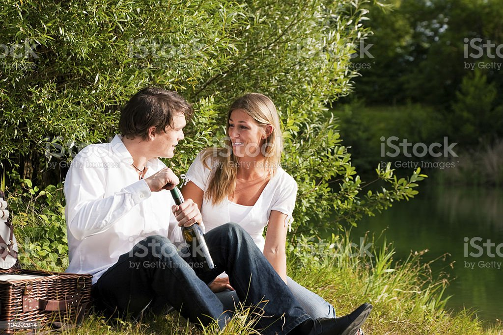 Picnic at the lake with wine in summer royalty-free stock photo