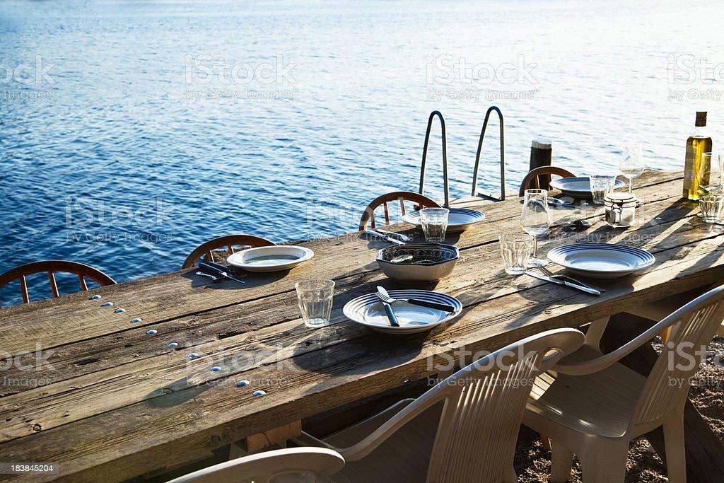picnic at the water stock photo