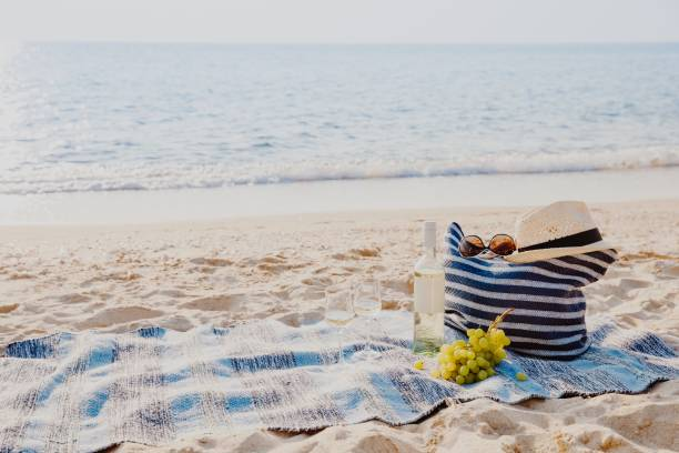 Picnic background with bag, grape and white wine by blue sea stock photo