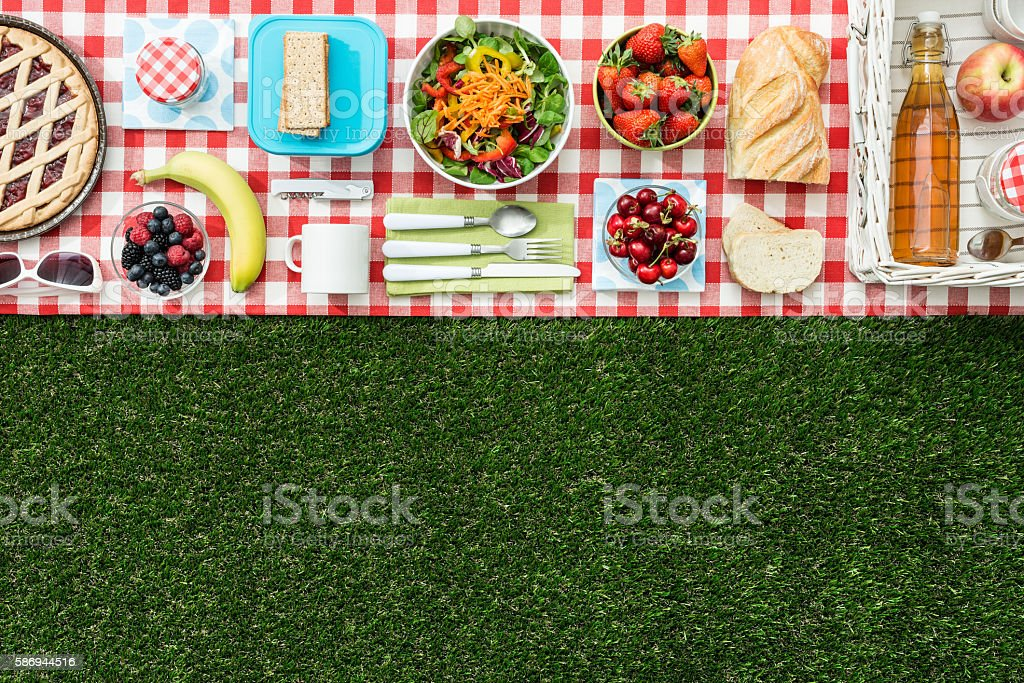 Picnic banner stock photo
