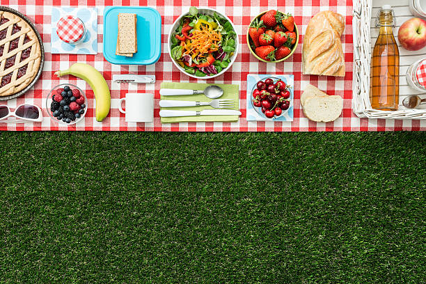 Picnic banner Summertime picnic on the grass with checked tablecloth and healthy food, flat lay banner knolling concept stock pictures, royalty-free photos & images