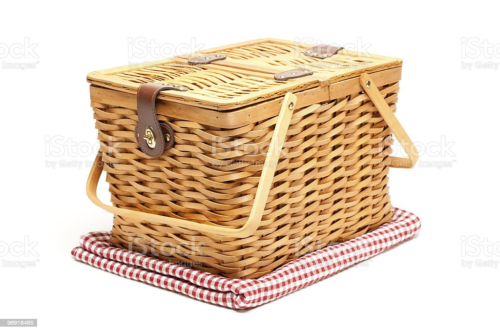 Picnic Basket and Folded Blanket Isolated royalty-free stock photo