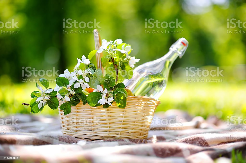 Picnic basket close up stock photo