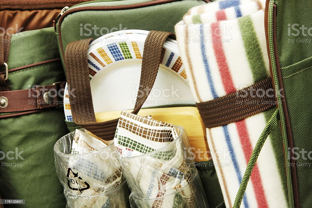 Picnic Basket Dish Cup Blanket royalty-free stock photo