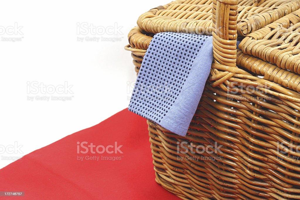 picnic basket hamper stock photo