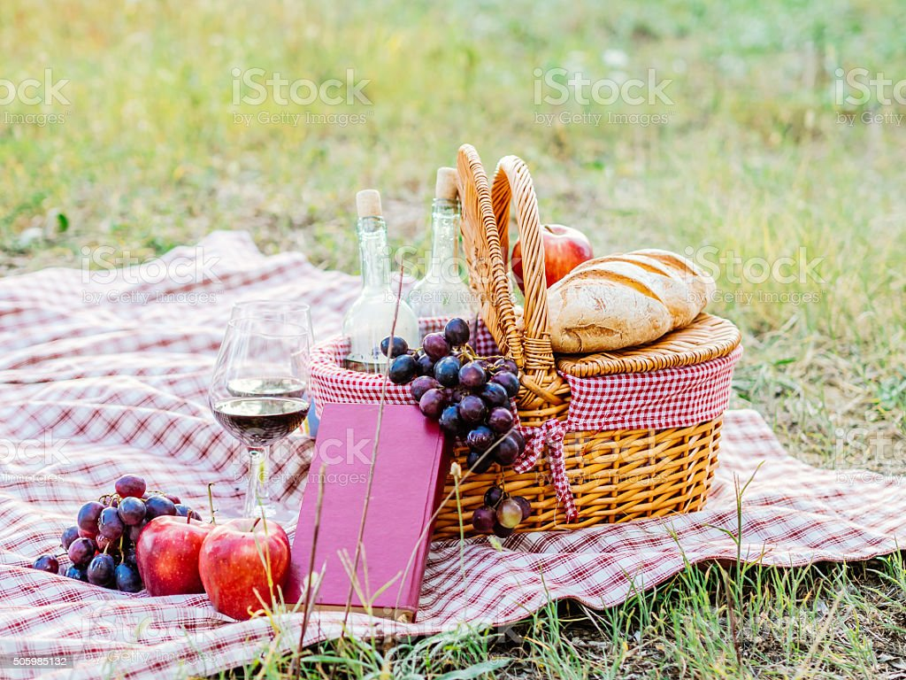 Picnic basket in a field stock photo