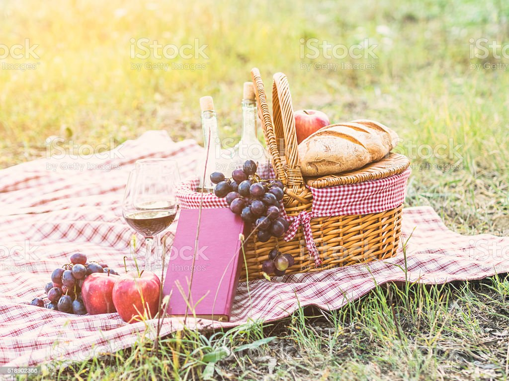 Picknickkorb in einem Feld – Foto
