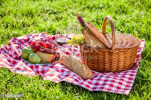Three quarters front view of a picnic basket shot on a checkered tablecloth on grass outdoors. Predominant colors are brown, red and green. The basket is filled with bread, cheese, grapes, and salami. Out of the basket are some fruits and a bottle and wineglass. High key DSRL outdoors photo taken with Canon EOS 5D Mk II and Canon EF 100mm f/2.8L Macro IS USM.