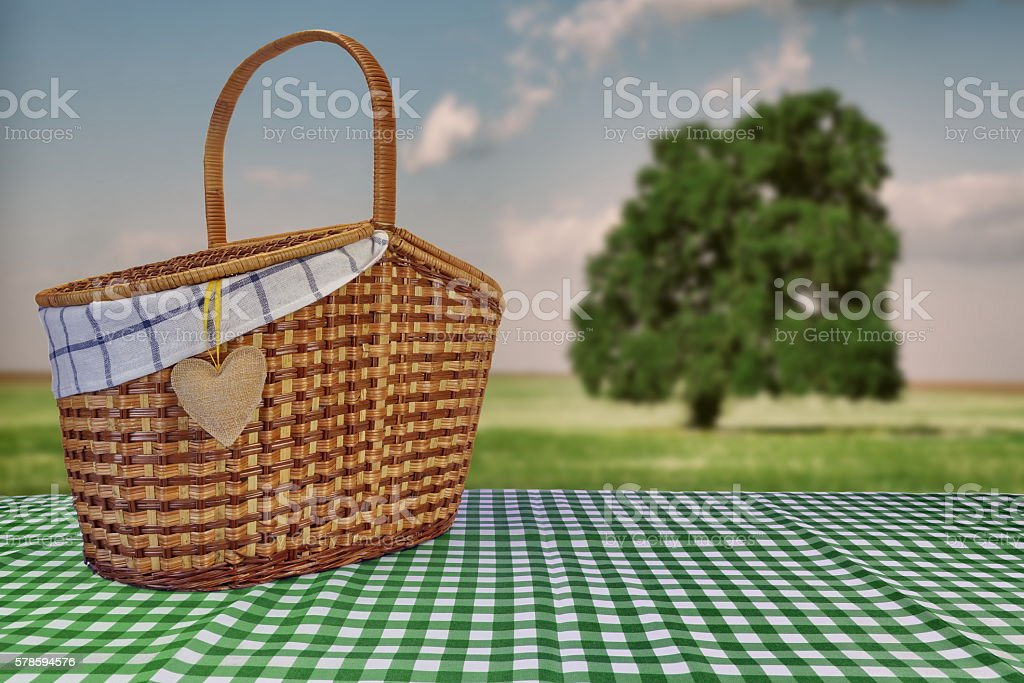 Picnic Basket On The Green Checkered Tablecloth And Summer Lands  Royalty Free Stock Photo