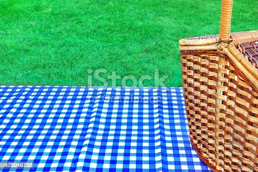 1048926386istockphoto Picnic Basket On The Table With Blue White Tablecloth 475046738