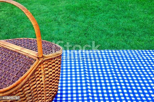 1048926386istockphoto Picnic Basket On The Table With Blue White Tablecloth 475046762