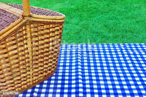 1048926386istockphoto Picnic Basket On The Table With Blue White Tablecloth 475046766