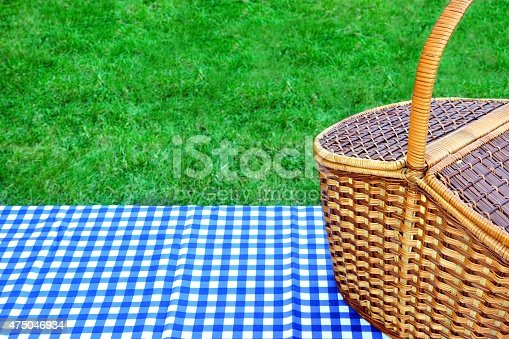 1048926386istockphoto Picnic Basket On The Table With Blue White Tablecloth 475046934