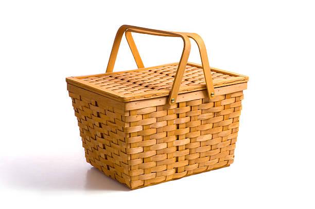 Picnic Basket on White stock photo