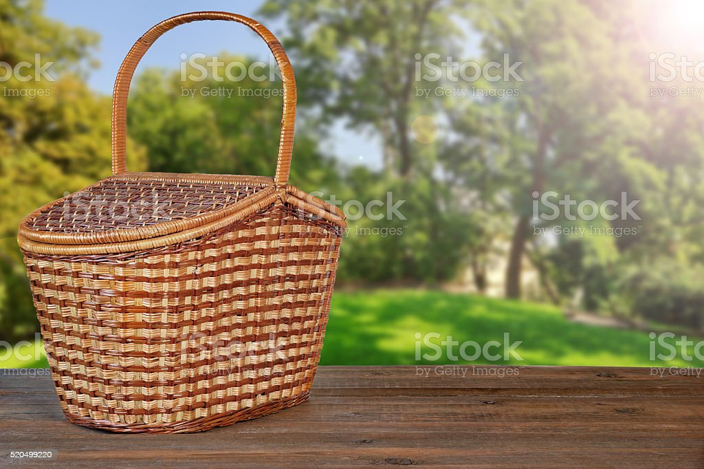 Remarkable Picnic Basket Or Hamper On Wooden Bench In Garden Stock Creativecarmelina Interior Chair Design Creativecarmelinacom